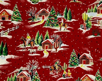"""COWBOYS CHRISTMAS Valance or Panel  Print  NO Top Ruffle Version med. weight designer  Cotton 52 x 12"""" 14"""" 18"""" 24"""" or 32"""" Lined or unlined"""