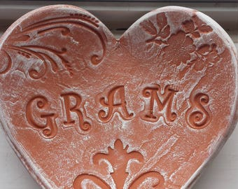 Handmade Pottery Mother's Day Rustic Heart Dish for Grams
