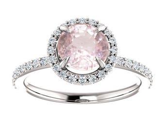1.06ct natural round peach sapphire engagement ring SKU BRIANA 2522