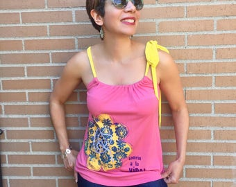 Pink Women's Top, Yellow Flower, Sleeveless, Handmade Unique Fashion, Halter