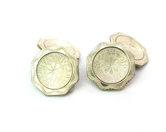 Mens Art Deco Cuff Links. White Gold, Rolled Plate Octagon Panel Cufflinks. Engine Turned. Foster Bailey. Vintage 1920s Special Occasion