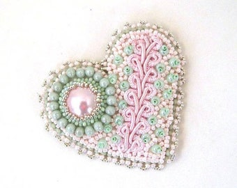 SALE Bead embroidered brooch, Beaded heart brooch, Heart brooch, Gift for women, Mint Green and pink, Handmade gift