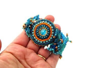 Beaded cuff bracelet, Blue bracelet, Blue jewelry, Boho bracelet, Seed bead jewelry, Freeform bracelet, Turquoise teal orange beadweaving