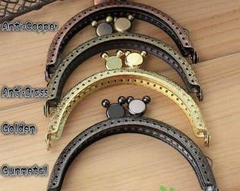 Half Round Mickey Embossed Purse Frame - 8.5cm / 3.3 inch (PF85-7) - 7 gunmental 10 gold 7 anti-copper