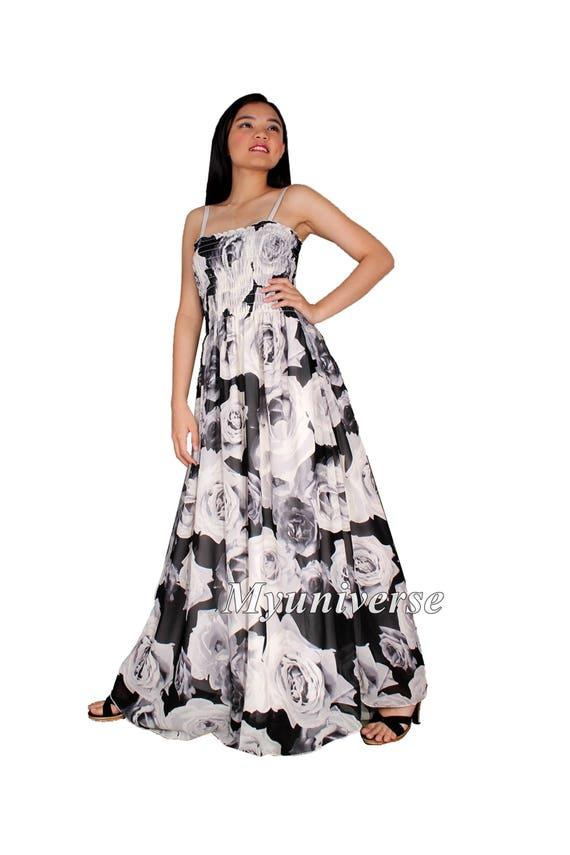 Schwarze Maxi-Kleid Frauen Plus Größe Kleidung lange Floral