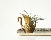 Vintage Petite Brass Swan Dish or Planter