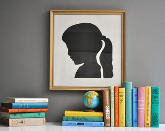 Vintage Large Scale Girl with Ponytail Paper Cut Silhouette Portrait