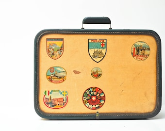 Vintage Aero-Pak Hard Shell Suitcase with Travel Stickers
