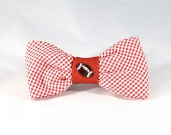 Preppy Red Gingham NC State Game Day Dog Bow Tie, North Carolina State University Football