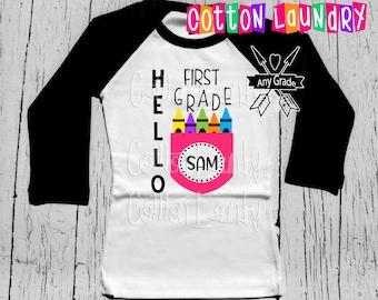 Back to School Hello [any grade] shirt Raglan baseball style tee shirt Preschool, Kindergarten, First Grade and beyond