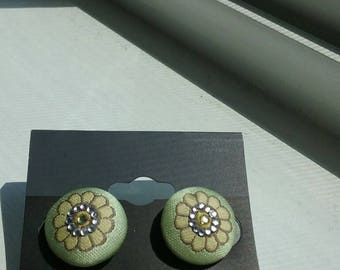 Green floral fabric earrings