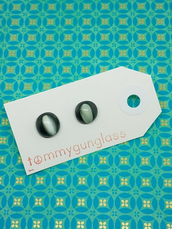 Steel and Ivory Glass Stud Earrings