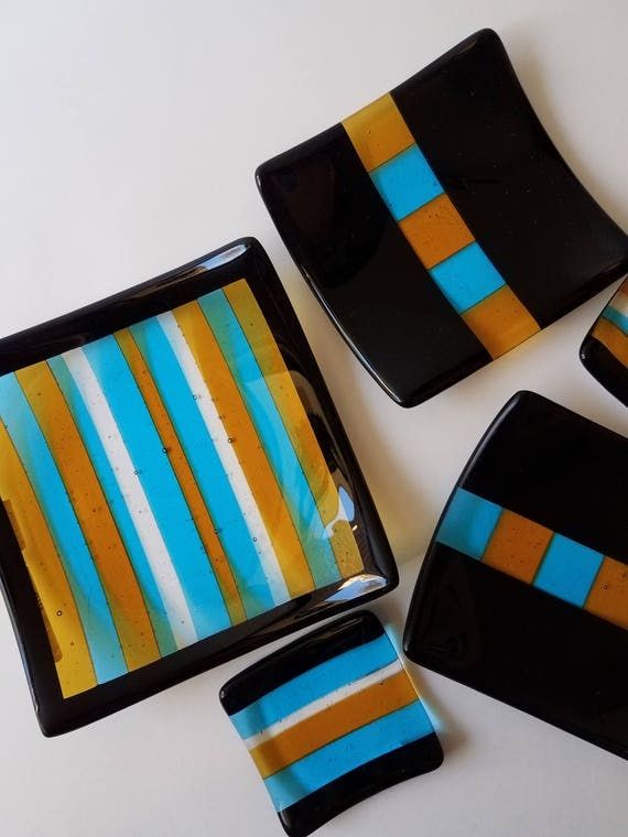 Turquoise, Amber, and Black Five Piece Set Glass Dishes