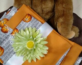 3 Piece BASKETBALL Toddler Cotton Bed Set . Fitted Sheet, Flat Sheet & Standard Size Pillow Case