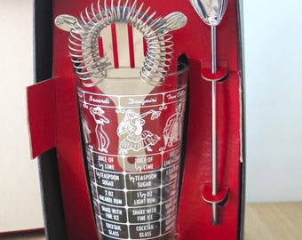 Vintage 3 Piece Bartender Set Shaker/Mixer/Strainer in Original Box