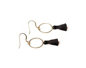 Handmade black silk tassel earrings - Gold plated hooks + circle ring - Nickel free - Handmade - kookinuts - Australia - EtsyAU