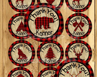 Lumberjack Thank you tags Lumber jack stickers Lumberjack Party favor tags Custom Gift tags Cupcake toppers Birthday Party tags PRECUT