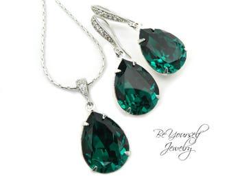 Emerald Bridal Earrings Green Teardrop Bride Necklace Swarovski Crystal Dark Green Wedding Jewelry Bridesmaid Gift Emerald Wedding Earrings