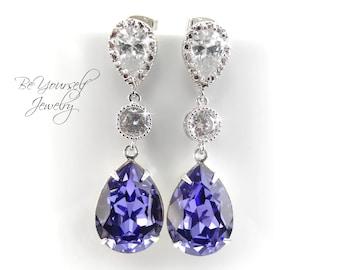 Tanzanite Bridal Earrings Purple Blue Teardrop Bride Earrings Swarovski Crystal Wedding Jewelry Lilac Lavender Bridesmaid Gift Sterling CZ