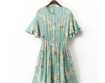 Blue Cranes Floral Dress - Bird Print Cascading Butterfly Sleeve Back Hollow Out Lacing up Sashes Tied Bow A-Line Pleated Draped Party