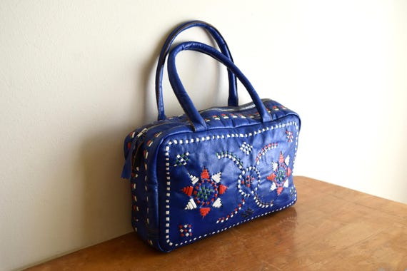 Small Vintage Leather Top Handle Bag w/Native Design - Boho, Hippie, Natural, South Western