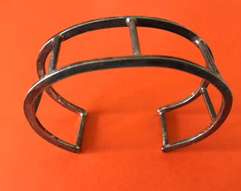 Artisan Made Geometric Sterling Silver Cuff Bracelet