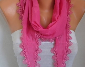 Hot Pink Cotton Scarf, Summer Scarf,Cowl Scarf,Necklace,Bridesmaid Gift,Gift For Her mom,Women Fashion Accessories,Birthday  Gift