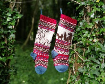 Knit Pattern Bunnies, Fox Christmas Stocking, Fairisle Bunny, Fairisle Fox, Christmas Bunnies, Santa Stocking Fox, Knit your own Santa Socks