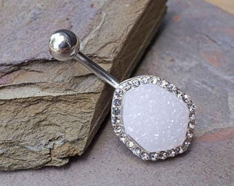 White Druzy Jewelry Belly Button Rings Belly Button Jewelry