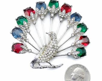 HUGE Vintage 1920's ART DECO Peacock Brooch Red Green Blue Glass & Clear Rhinestones Jewels Of India Moghul Rare Estate Find!