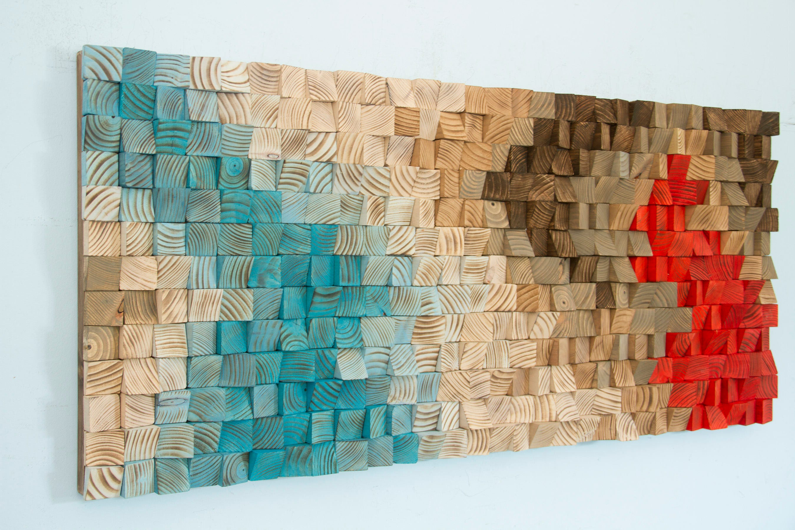 wood wall art wood sound diffusor sculpture mosaic. Black Bedroom Furniture Sets. Home Design Ideas