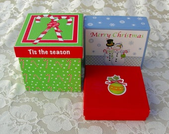 3 Christmas Boxes, gift boxes, holiday boxes, 1 medium and 2 small