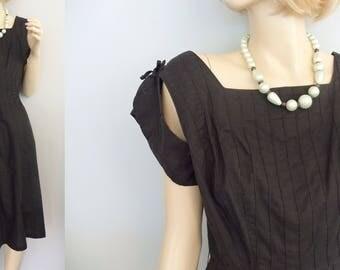 1950s Little Black Dress Fashioned By Sorority  vintage 50's Party Dress M