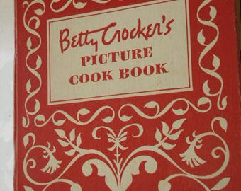 Vintage 1950 Betty Crocker's Picture Cook Book - First Edition 8th. Printing Red Cookbook 5 Ring Binder