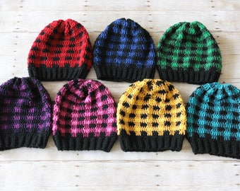 READY TO SHIP - Crochet Plaid Hat, Crochet Women's Hat, Crochet Teen's Hat, Plaid Hat, Winter Hat, Fall Fashion, Crochet Hat, Women's Hat