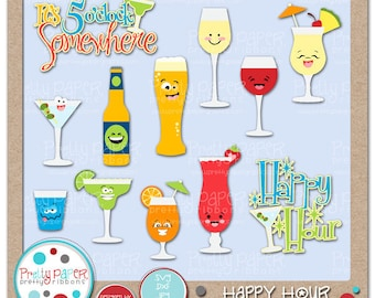 Happy Hour Cutting Files & Clip Art - Instant Download