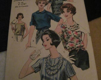 Vintage VOGUE Pattern #5232.. sz,12....blouse...1961...#57....