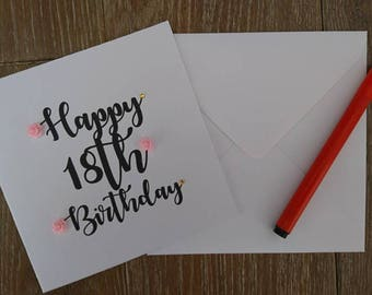 18th birthday card, birthday card, Greetings card, 18th card, personalised card, floral birthday card, handmade birthday card, handmade
