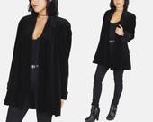 Black VELVET Blazer Jacket Vtg 90s JS Collections Straight Fitted GOTH Witchy Mystic Minimalist Shoulder Padding Coat - Medium/Large