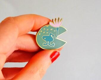 Lily Pad Pink + Green Frog Enamel Lapel Pin Brooch
