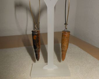 Hand Carved Genuine Tigers eye bullet shell earrings/Womens bullet tigers eye earrings/pierced hand carved bullet tigers eye earrings