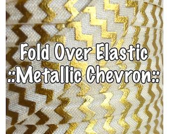 Fold Over Elastic - Metallic Chevron, for hair accessories