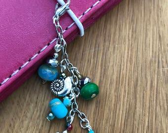 Sea turtle seashell beach themed dangle travelers notebook journal charm purse charm cell phone charm