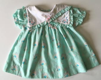 1980's Aqua Floral Dress (12 months)