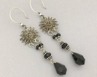 Boho Gypsy Dangle Earrings - Long Chandelier Earrings - Silver Flower Earrings Gift for Her - Bohemian Black Earrings - Handmade Unique Gift