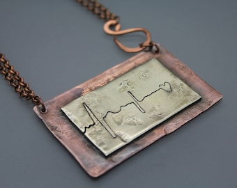 EKG Necklace, Ekg Jewelry, Heartbeat Necklace, Heartbeat Jewelry, Pulse Bar Jewelry, Pulse Bar Necklace, Heartbeat, Nurse Jewelry