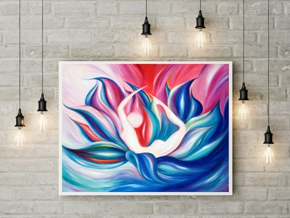 Yoga Art BOW - fine art giclee from original oil painting, yoga wall decor