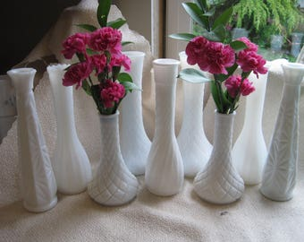 Milk Glass Bud Vase Collection, Set of 12 Wedding Vases