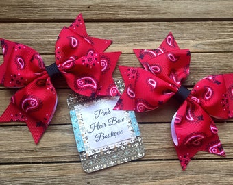 Red Bandana Pigtail Bows,Country Cutie Pigtail bows, Cowgirl hair bows, Pigtail hair bows, pink piggie hair bows