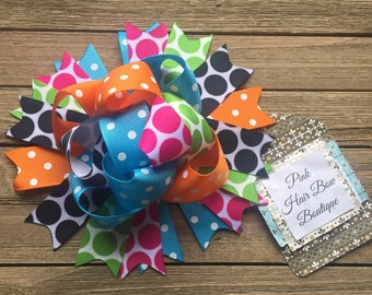 Funky and fun Birthday hair bow , 5 inch over the top , cute sprung hair bow , hair bow for girls